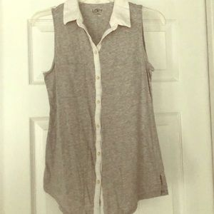 Loft cotton gray top with collar